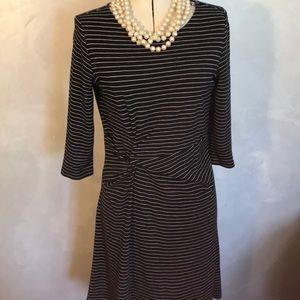 Ann Taylor Knit Navy White Striped Dress Sz 6P